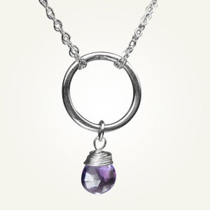 Image of Orbit Necklace with Amethyst, Sterling Silver
