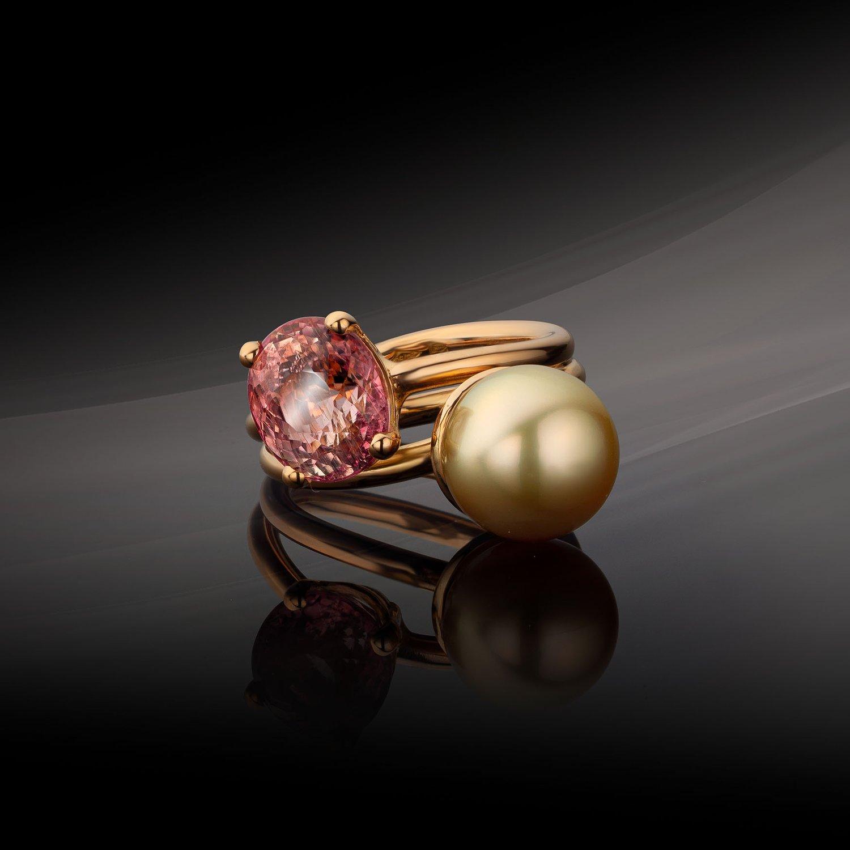 Image of verlovingsring - geboortering - coctailring in roos goud, toermalijn, parel