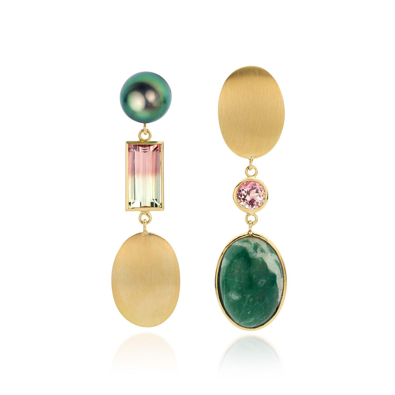 Image of oorhangers in goud, toermalijn, kwarts, Tahiti parel - earrings in gold, tourmaline, quartz