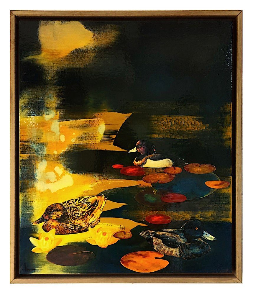 """Image of Original Canvas - Ducks and Lilies on Prussian Blue/Yellow Ochre - 24"""" x 20"""""""
