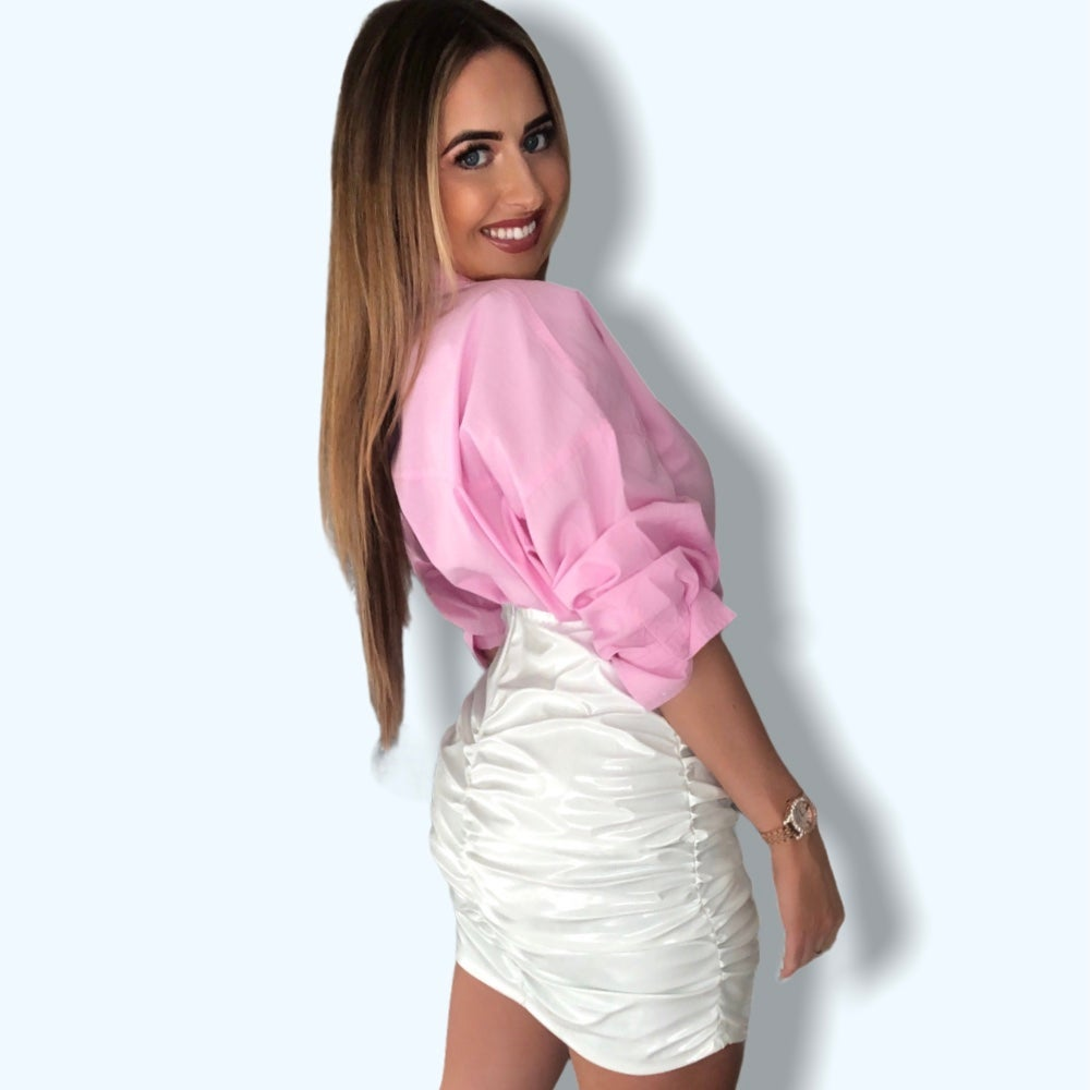 Image of PVC Ruched Mini Skirt - White