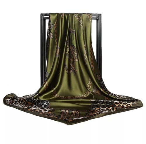 Image of Large Silky Headscarf - Bottle Green