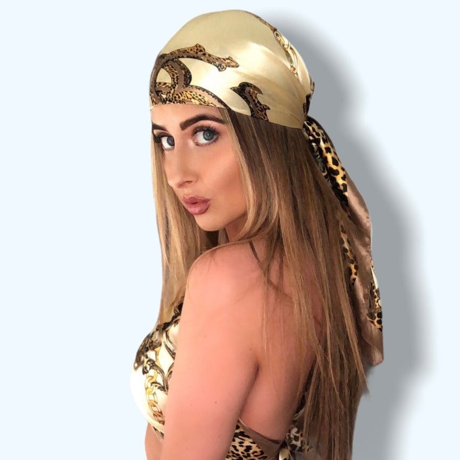 Image of Large Silky Headscarf - Cream
