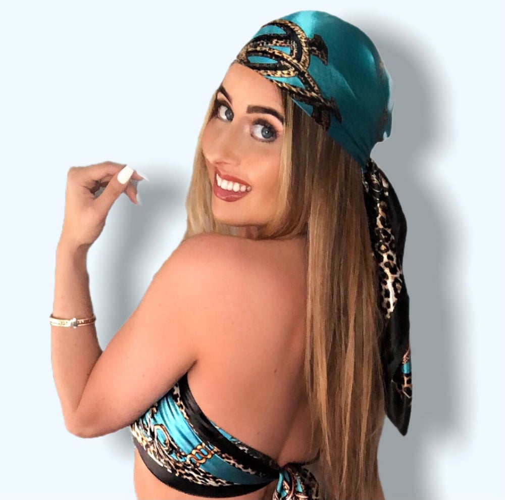 Image of Large Silky Headscarf - Teal
