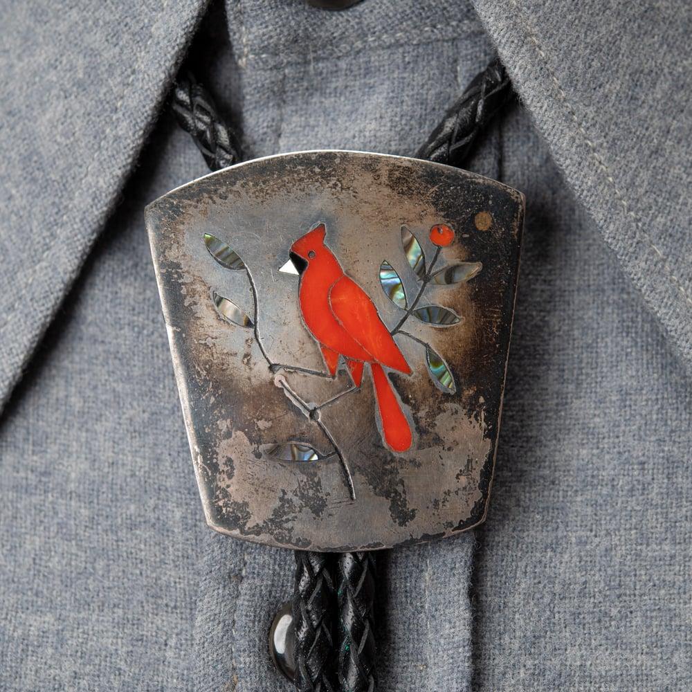 Image of Zuni Silversmiths Derrick and Nichelle Edaakie Red Arizona Cardinal Sterling Silver Bolo Tie
