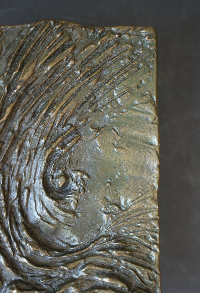 Image of Bronze Door Handle with Textured Wave Design, 20th Century, European