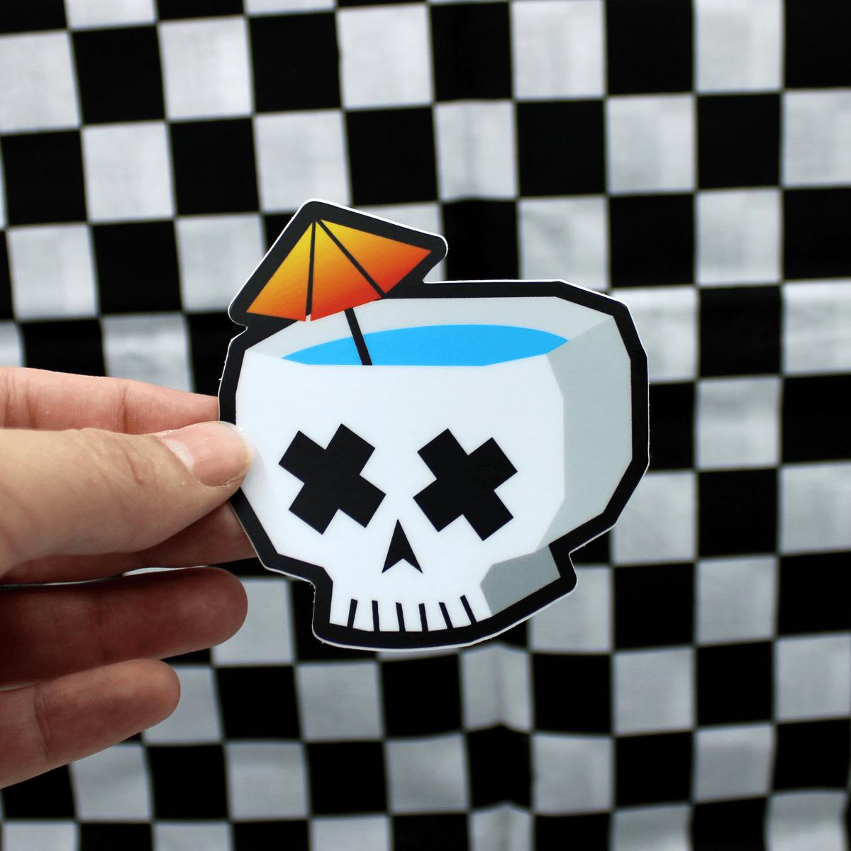 Skull Tiki Drink Sticker