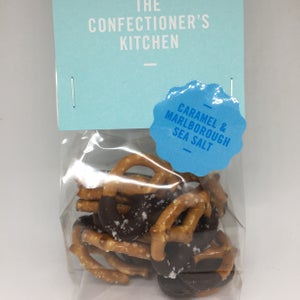 Image of Pretzels dipped in Dark Caramel Chocolate with Sea Salt