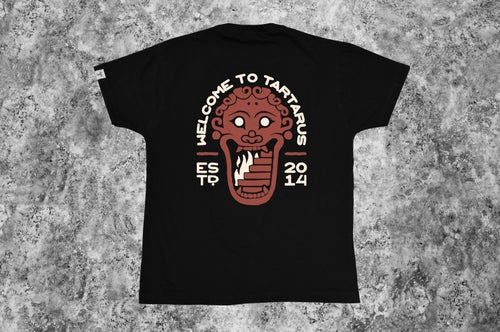 """Image of """"Welcome to Tartarus"""" Black T-shirt"""
