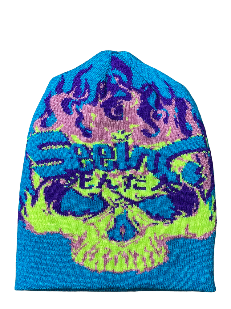 Image of NEON FIRE SKULL KNIT BEANIE