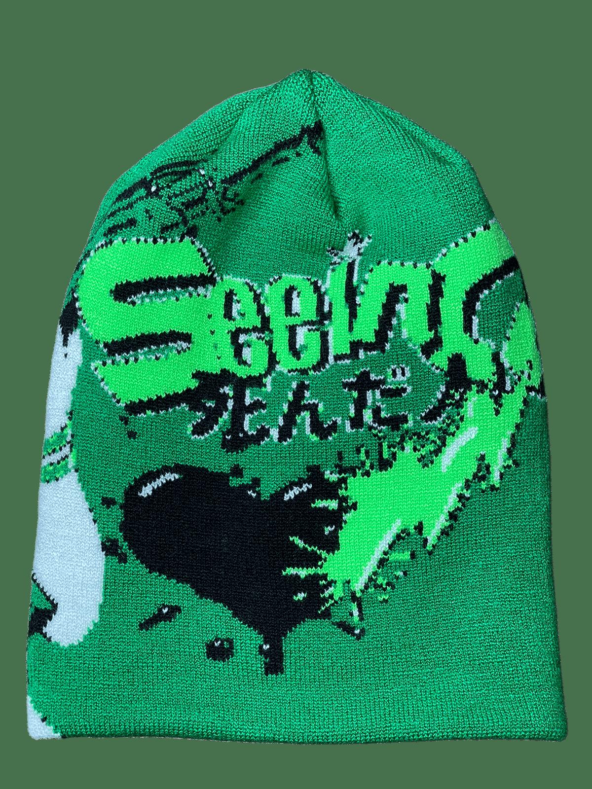 Image of GREEN MACHINE ANIME KNIT BEANIE