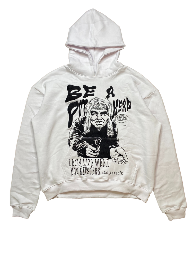 Image of WHITE AT LEAST ITS NOT CRACK OVERSIZED PULLOVER HOODIE