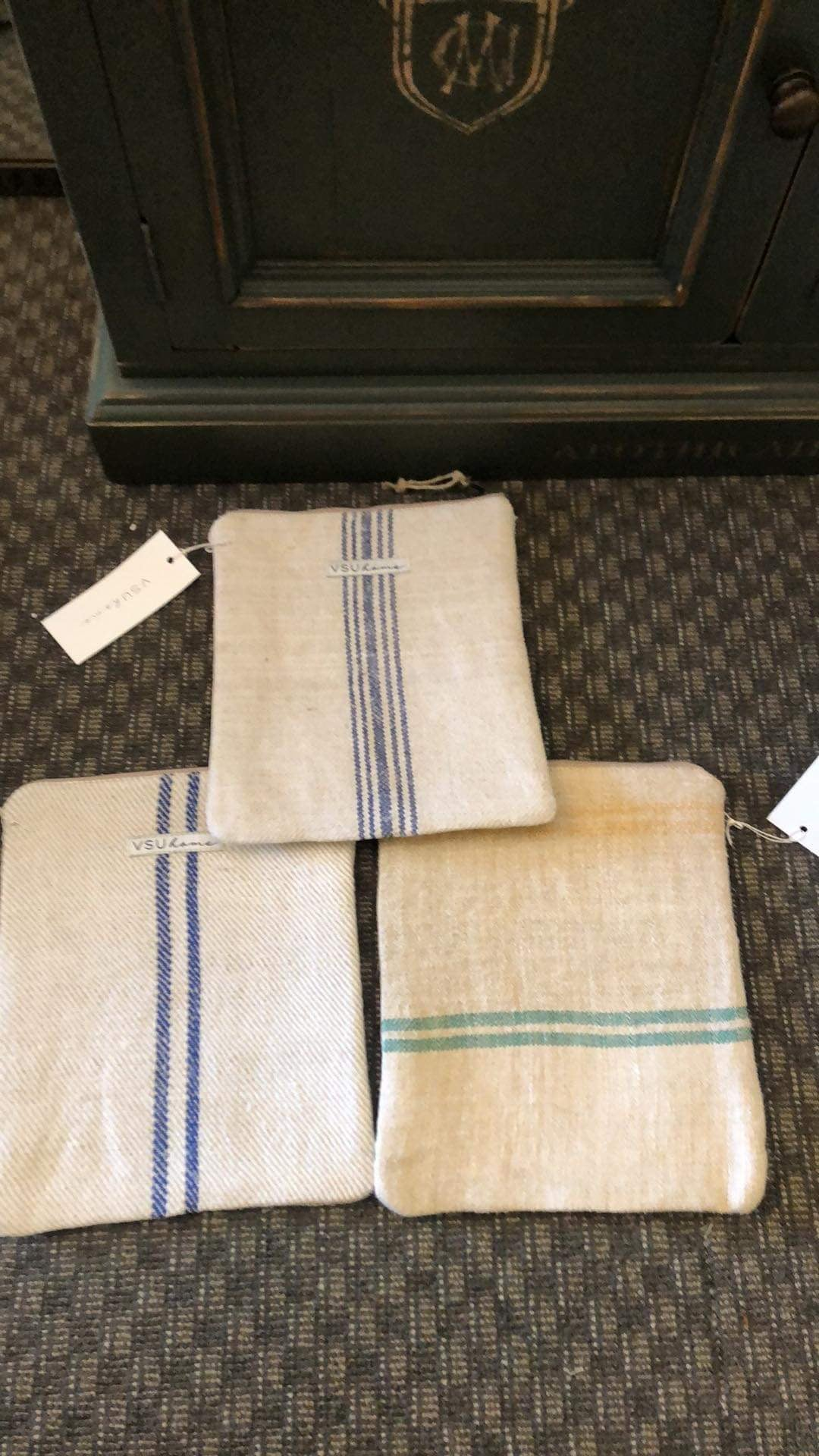 Image of Large Pouch - Double Navy Stripe