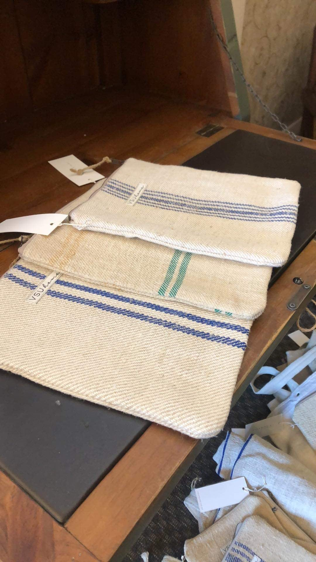 Image of Large Pouch - Green Stripe