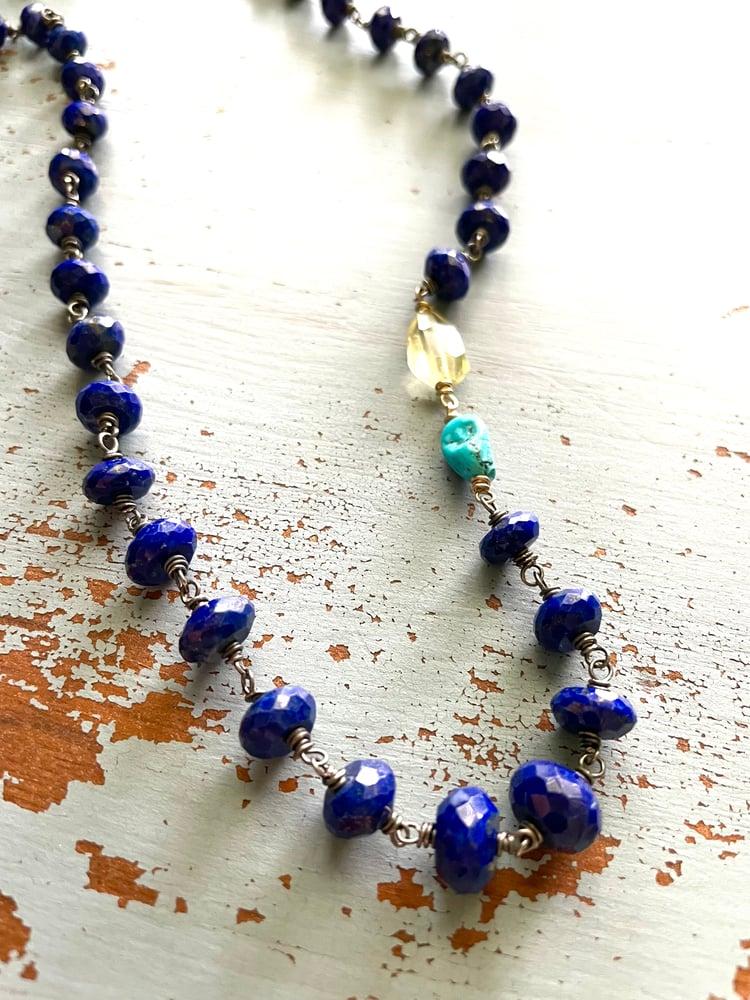 Image of faceted lapis lazuli turquoise and lemon quartz necklace