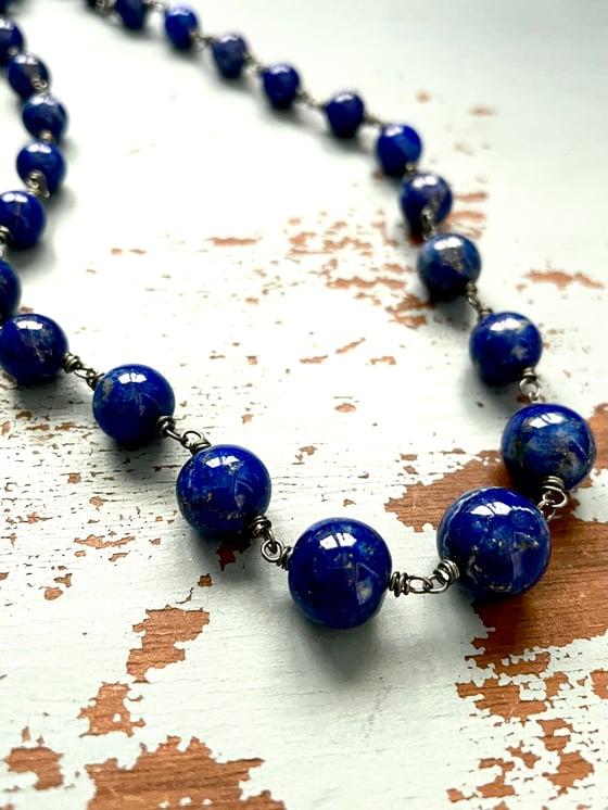 Image of graduated lapis lazuli necklace