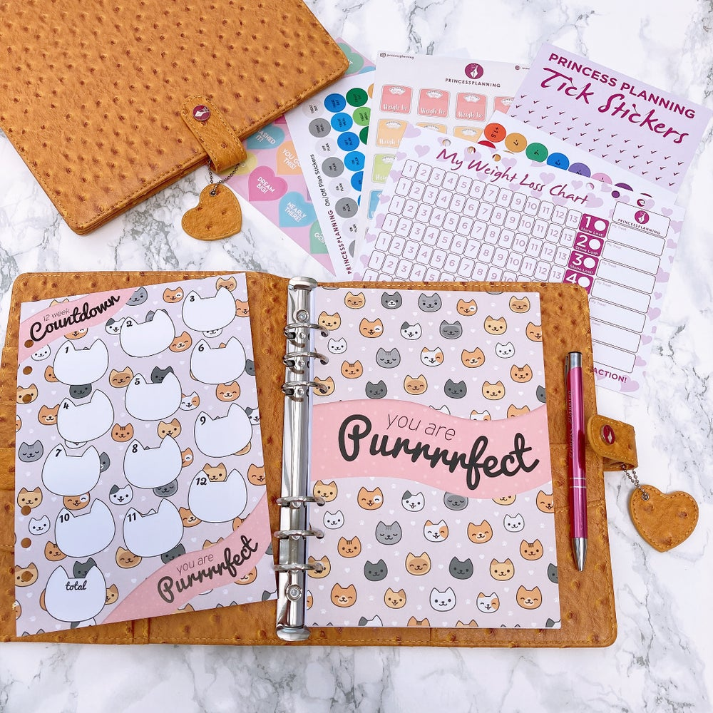 Image of GRANDE PLANNER -HOLLY HONEYCOMB OSTRICH FULLY LOADED FOOD DIARY BUNDLE PURRRFECT