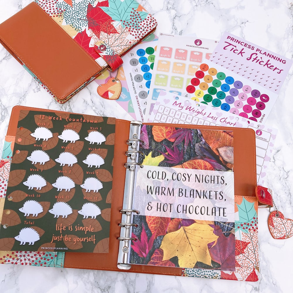 Image of GRANDE PLANNER -TWO TONE AUTUMN LEAVES FULLY LOADED FOOD DIARY  BUNDLE COLD COSY NIGHTS