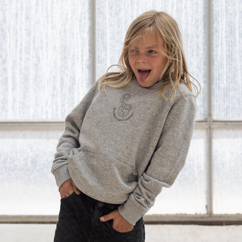Image of HOODY BOY / GIRL HAPPY WARRIOR grey