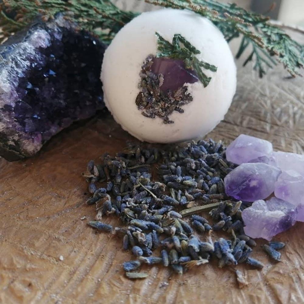 Image of Lavender Wildwood Crystal Embedded Bath Bomb