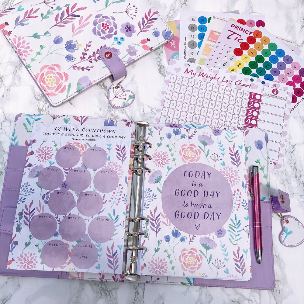 Image of LUCY LILAC FLORAL  FOOD DIARY GRANDE PLANNER BUNDLE TODAY IS A GOOD DAY