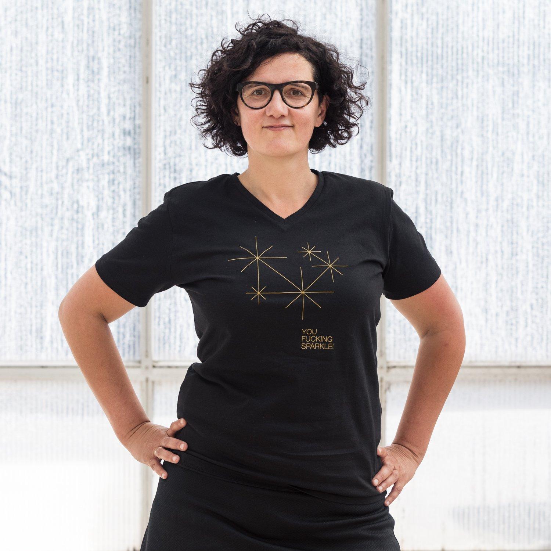 Image of T-SHIRT WOMAN short sleeve SPARKLE black
