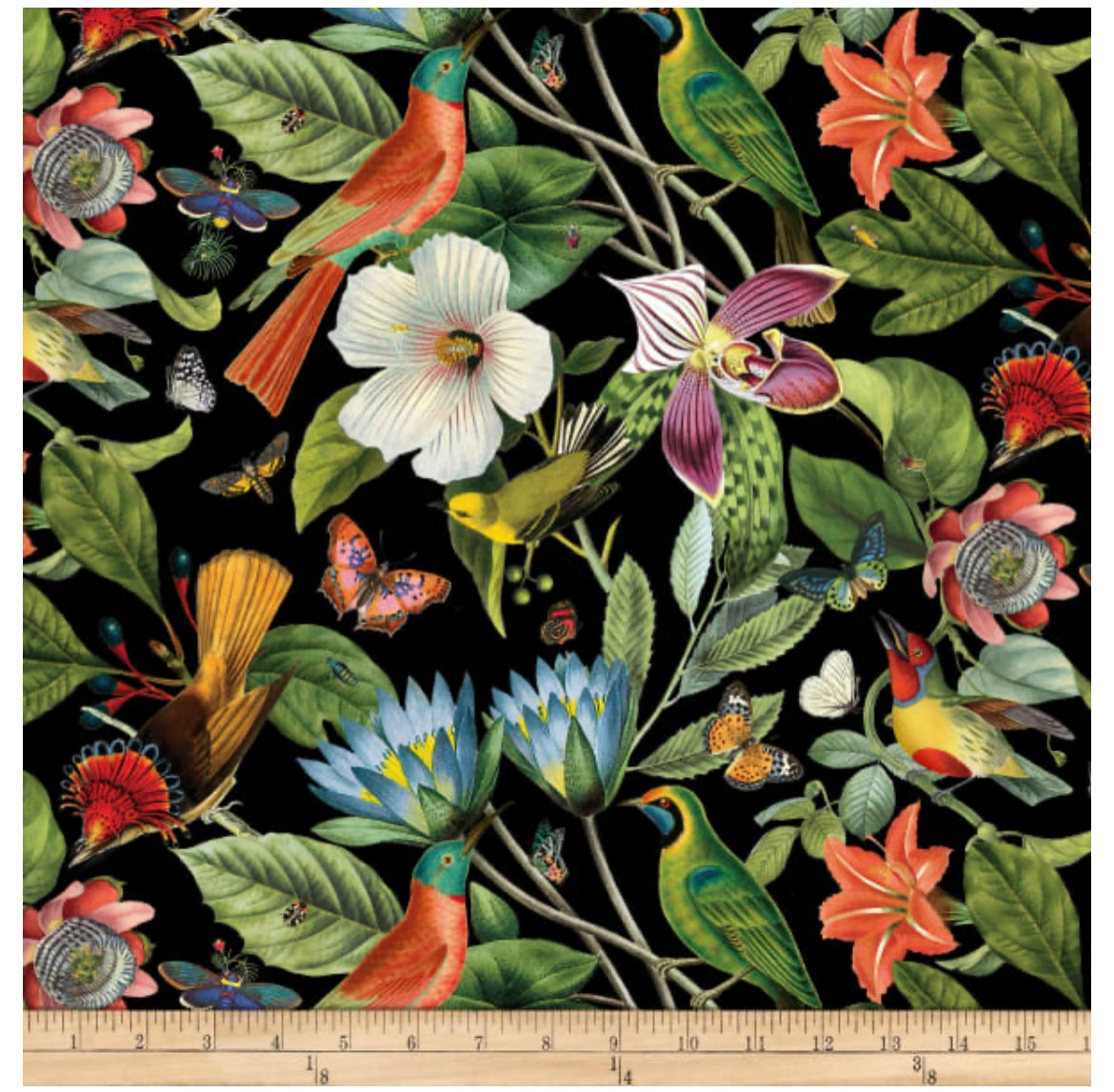 Image of Large Floral and Birds Black Shade 30cm