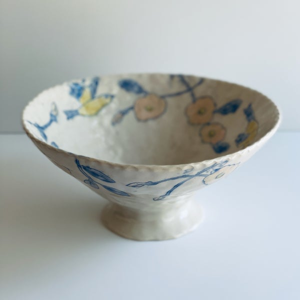 Image of Goldfinch and Rose Bowl