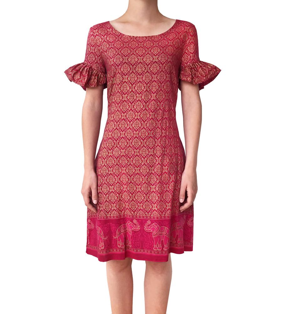 Image of Red & Gold Taj dress