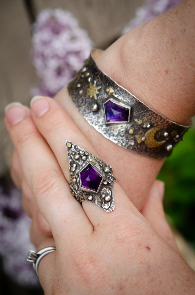 Image of amethyst sun, moon, and stars bracelet