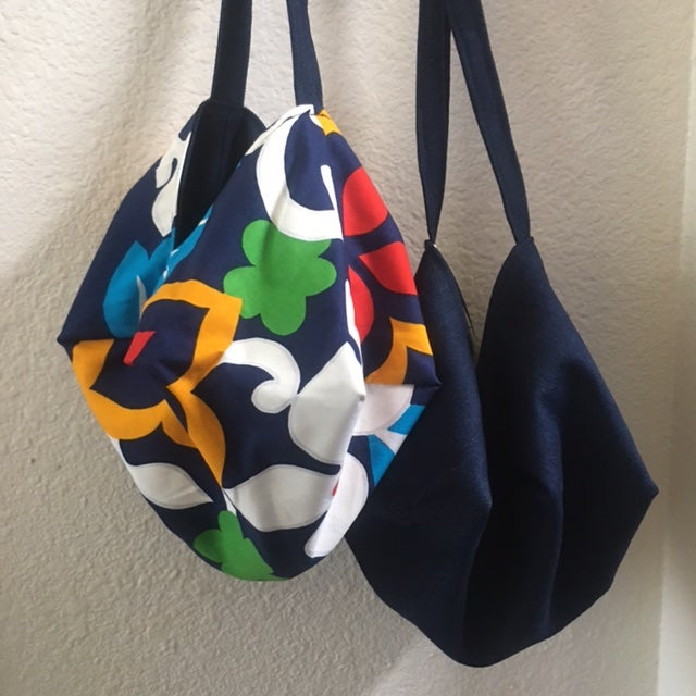 Reversible Japanese Inspired Boho Origami Bag in Vintage Retro Cotton and Blue Cotton Denim