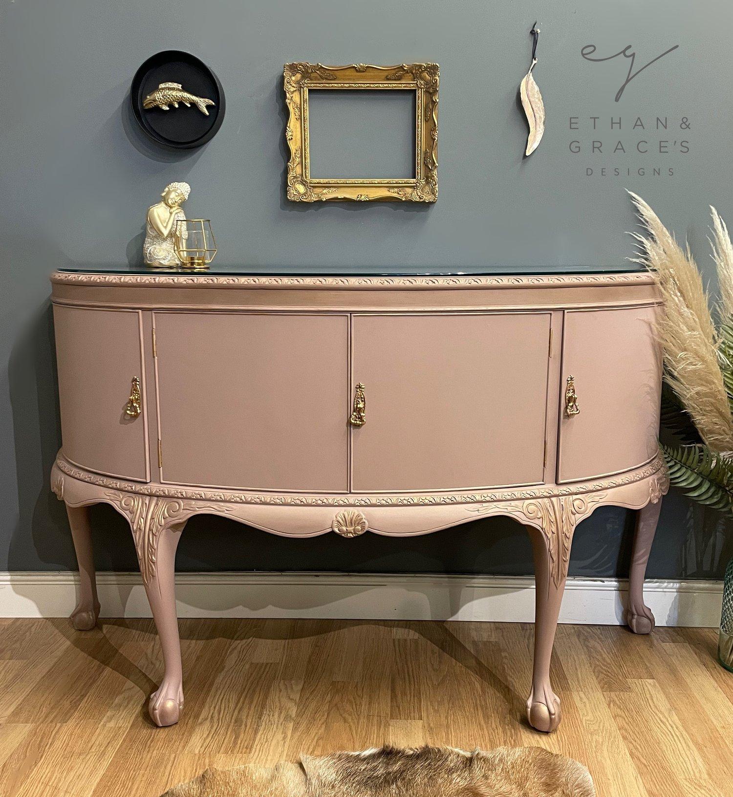 Image of Stunning pink & gold mahogany  sideboard
