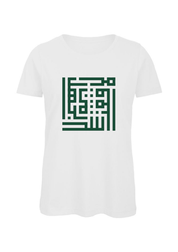 Image of Woman t-shirt - Green calligraffiti