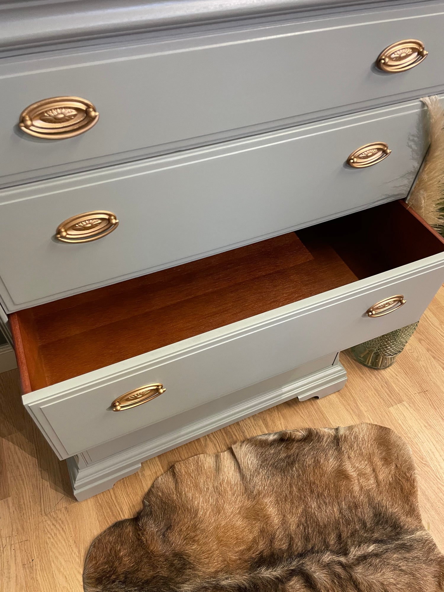 Image of A beautiful tallboy chest of drawers painted in Farrow and Ball