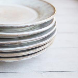 Image of RESERVED for Jennifer - Six Custom Salad Plates in White and Ocher Glaze