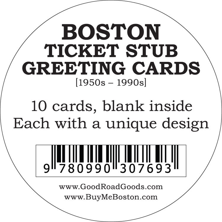 Image of Boston Ticket Stub Greeting Cards 10 PACK [1950s – 2000s]