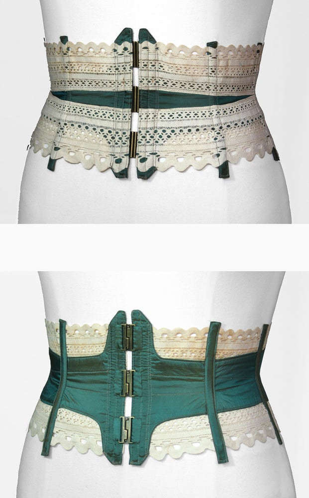 Image of Teal Reversible Corseted Belt