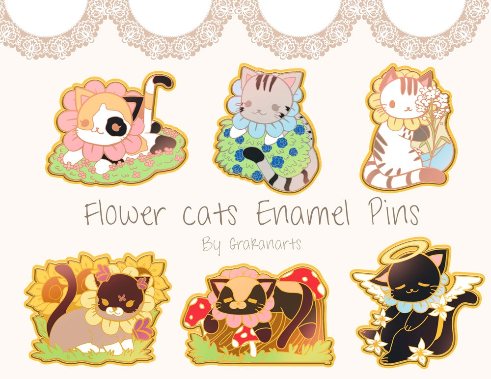 Image of [Preorder] Flower Cats Enamel Pins