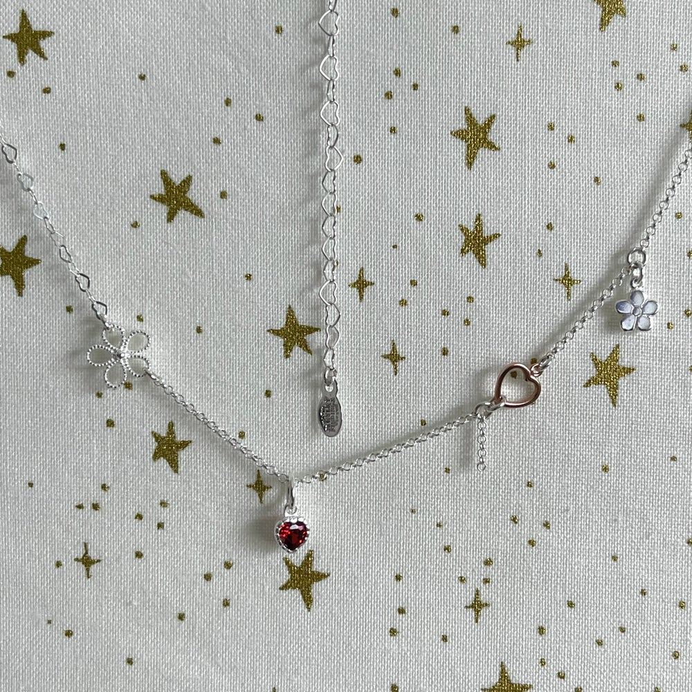 Image of Heart and flowers necklace