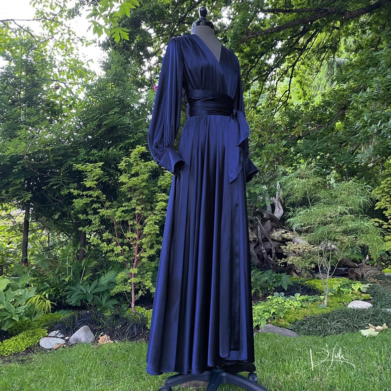 """Image of Midnight Blue """"Beverly"""" Dressing Gown w/ Crystal Button Cuffs"""