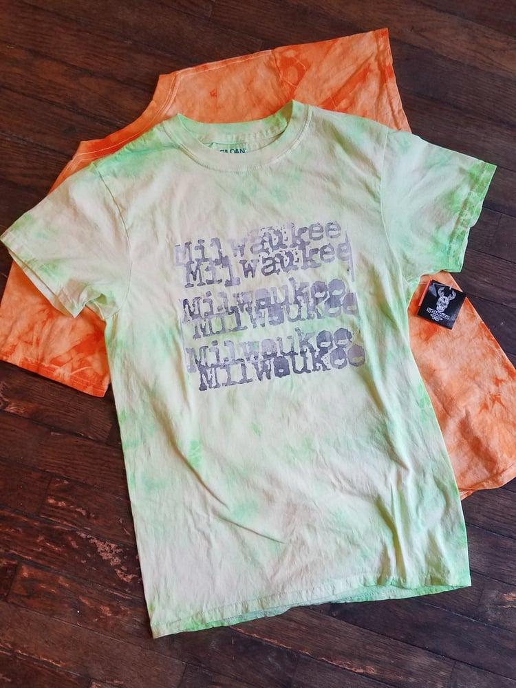 Image of MKE Typewriter Tie-Dyed T-Shirt