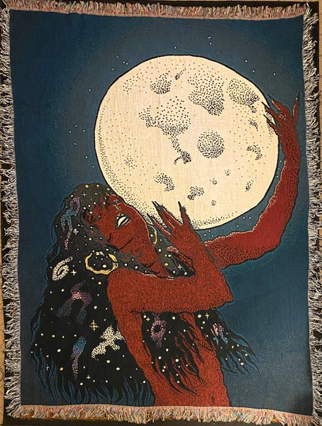 Image of Midnight Moon Maiden woven blanket PREORDER