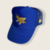 1 of 1 SJ Shark Trucker in Golden State Royal with black and yellow logo