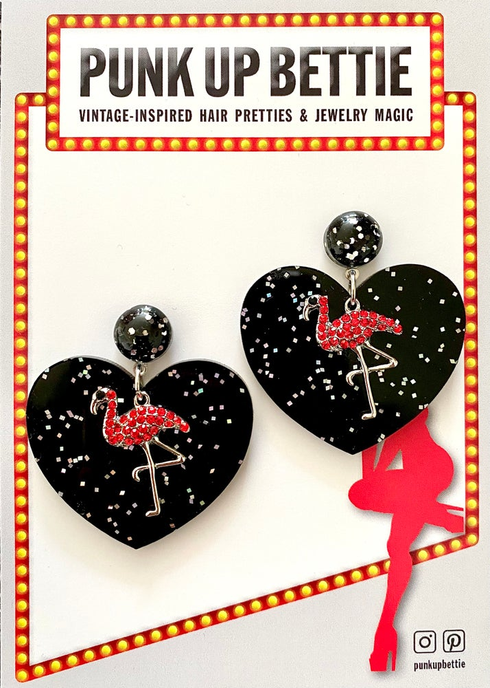 Image of Flamingo Glitter Sweethearts Earrings - Black/Red