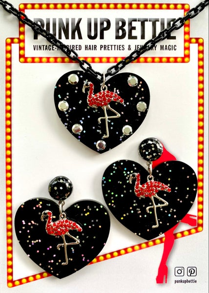 Image of Flamingo Glitter Sweethearts Necklace - Black/Red