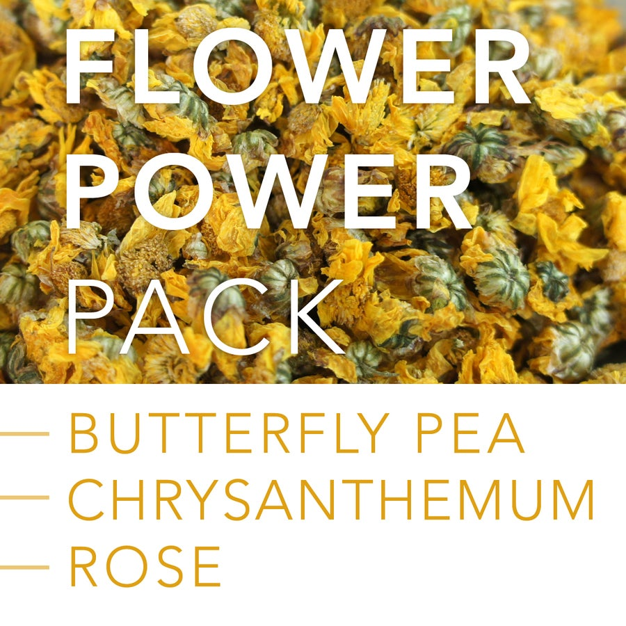 Image of FLOWER POWER PACK: Butterfly Pea Flower, Chrysanthemum and Rose