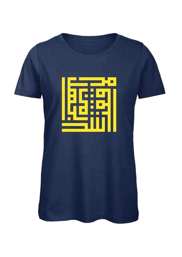 Image of Woman t-shirt - Yellow calligraffiti