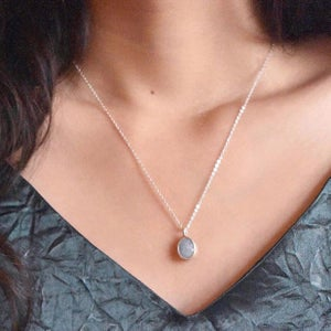 Image of Natural Ice Blue Aquamarine oval cut silver necklace