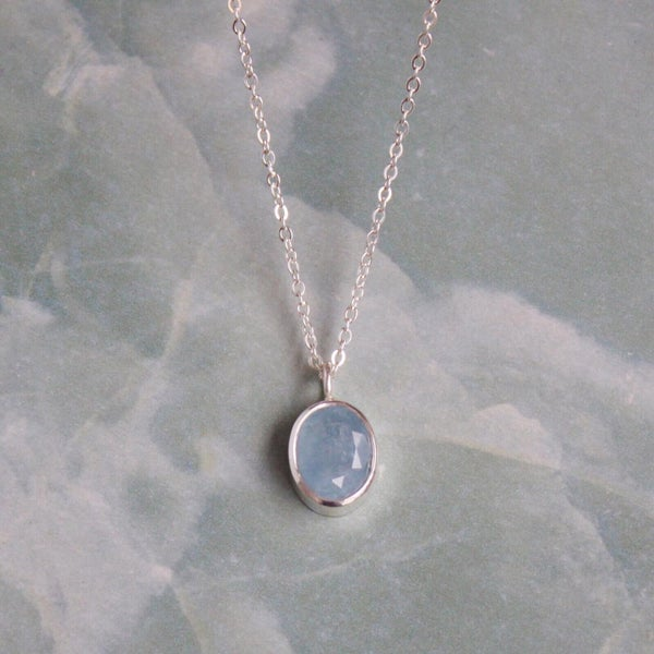 Image of Natural Deep Blue Aquamarine oval cut silver necklace
