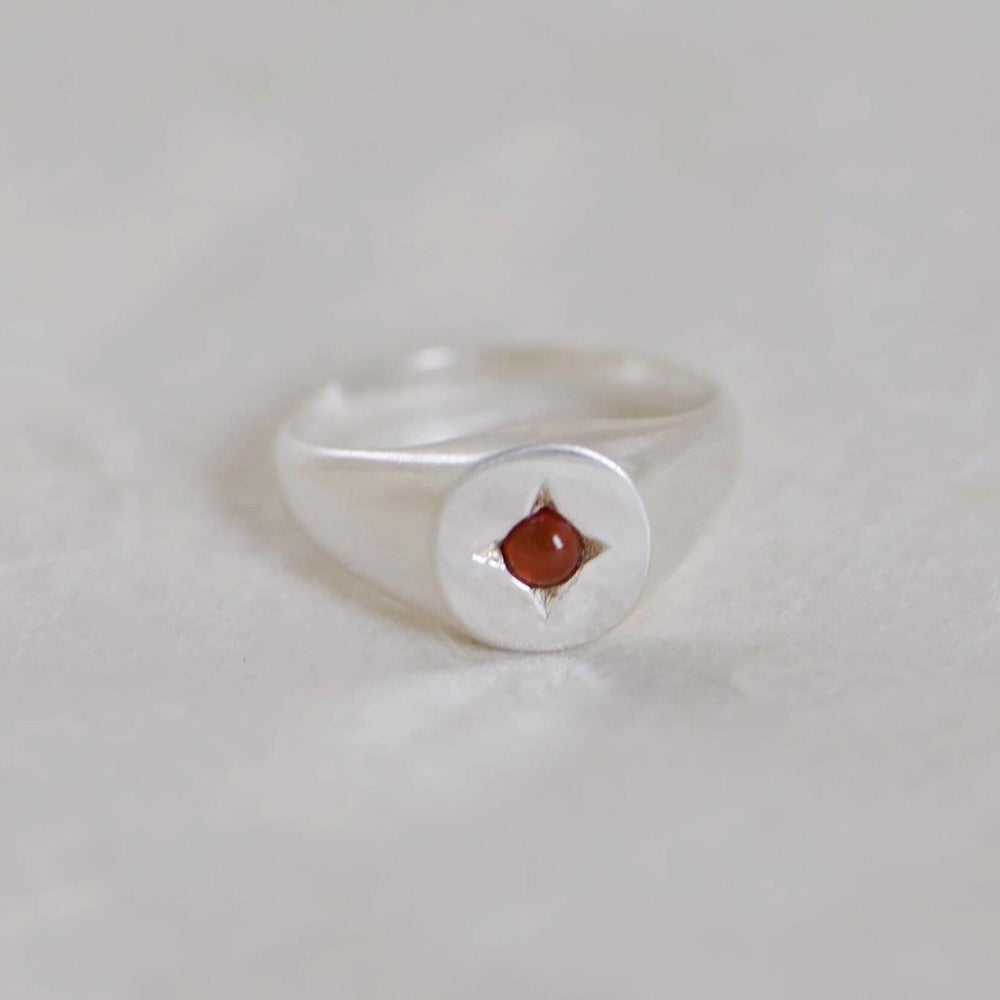 Image of Carnelian cabochon silver signet ring